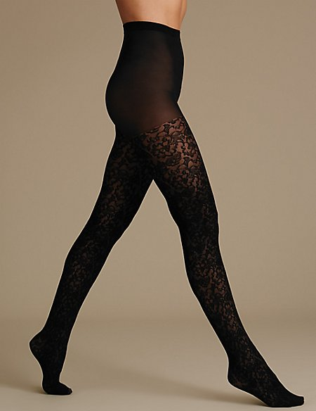 Floral Texture Tights