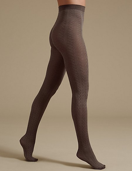 Cable Diamond Texture Tights