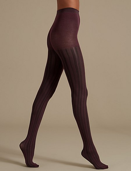 2 Tone Ribbed Opaque Tights