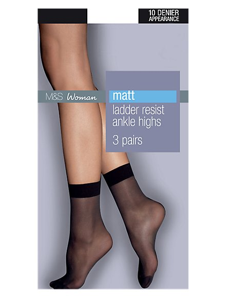 3 Pair Pack 10 Denier Ladder Resist Matt Ankle Highs