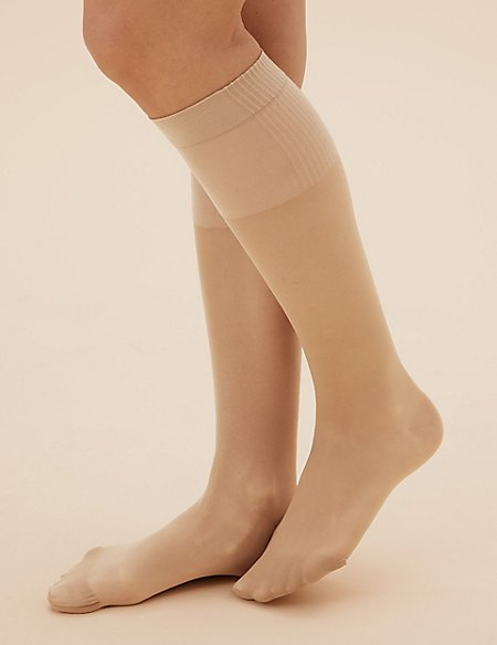 2 Pair Pack Firm Support Shine Knee High