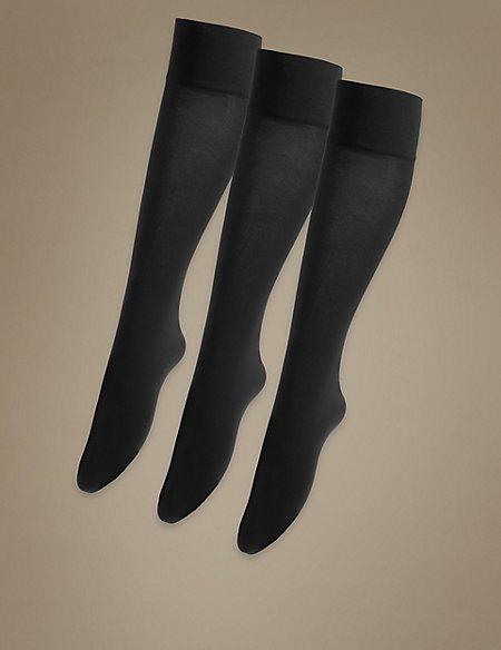 3 Pair Pack 40 Denier Opaque Knee Highs Super Soft