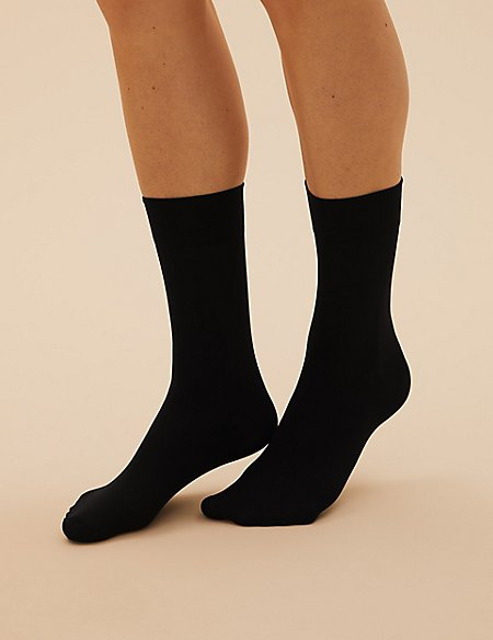 3 Pair Pack 40 Denier Opaque Ankle Highs Super Soft