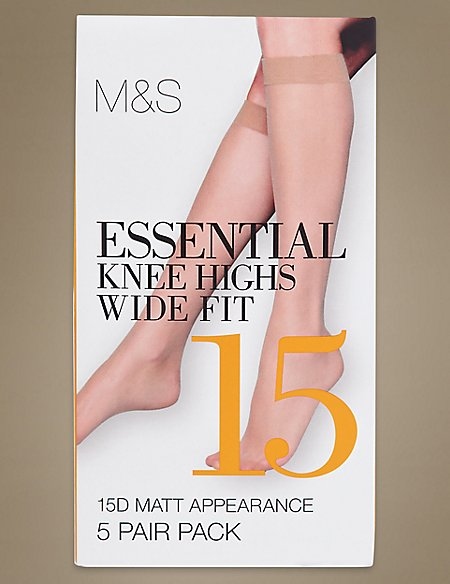 5 Pair Pack 15 Denier Matt Knee Highs