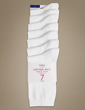 7 Pair Pack Cotton Rich Ankle High Socks, WHITE, catlanding