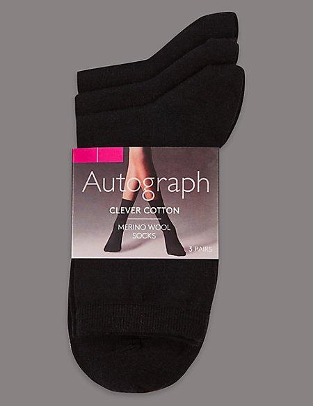 3 Pair Pack Merino Wool Rich Ankle High Socks