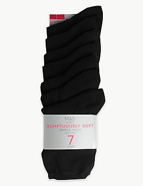 7 Pair Pack Supersoft Ankle High Socks