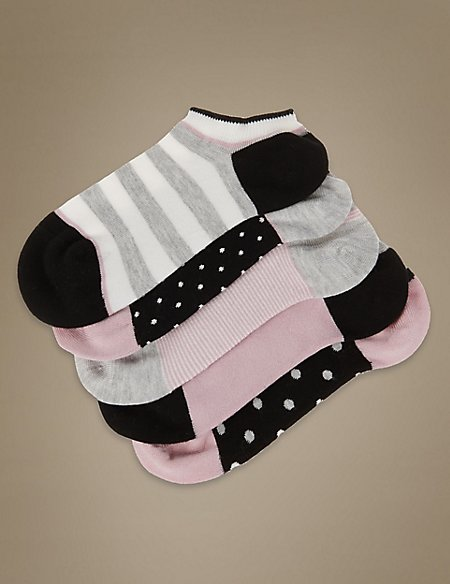 5 Pair Pack Supersoft Spotted Striped Trainer Liner Socks