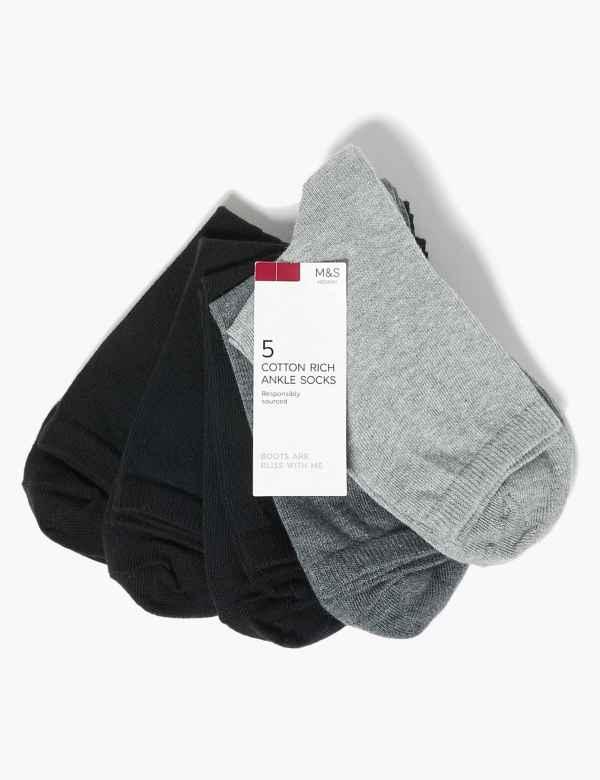 7c38ff2894e 5 Pair Pack Cotton Rich Ankle High Socks
