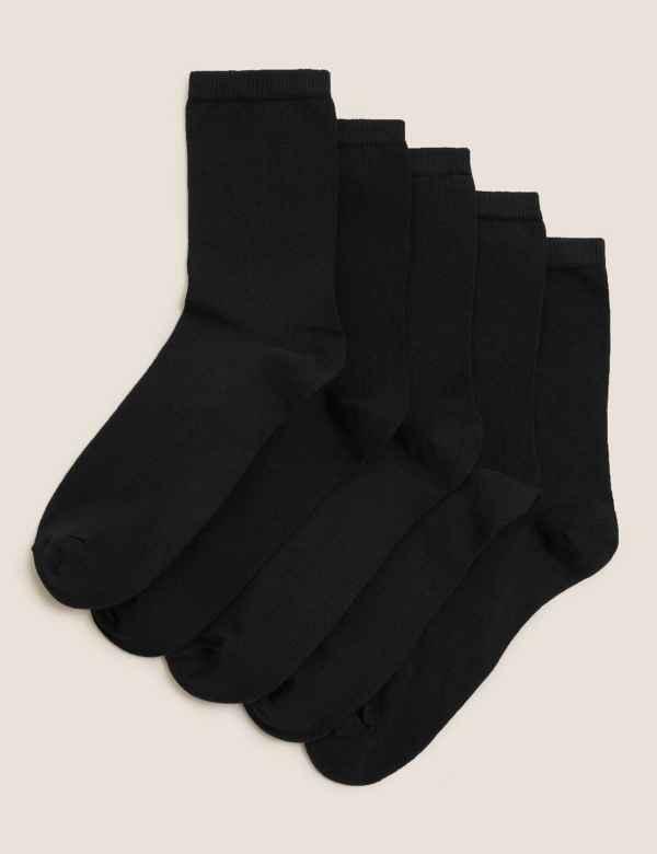 ecd5dc72b 5 Pair Pack Cotton Rich Ankle High Socks