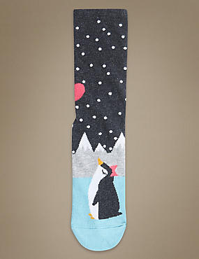 Cotton Rich Penguin Print Ankle High Socks