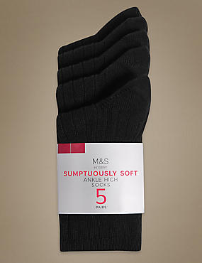 5 Pair Pack Heavyweight Sumptuously Soft Ankle High Socks
