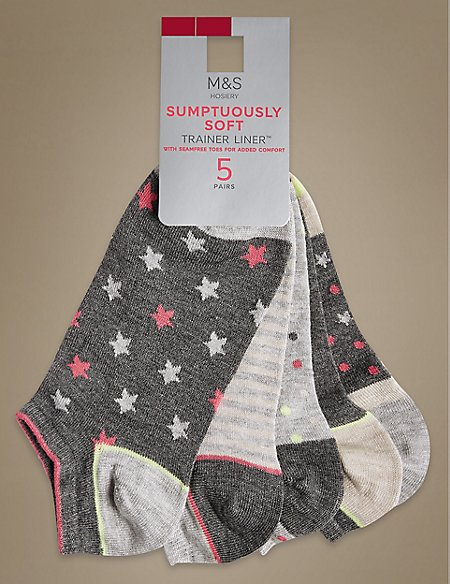 5 Pair Pack Supersoft Trainer Liner Socks
