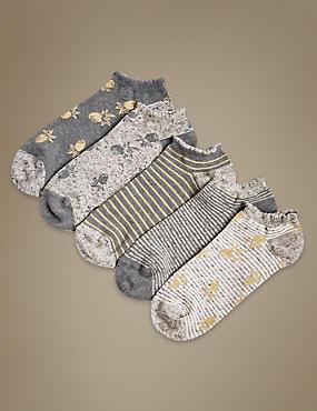 5 Pair Pack Cotton Rich Trainer Liner Socks, GREY MIX, catlanding