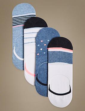4 Pair Pack Cotton Rich Trainer Liner Socks , DENIM MIX, catlanding
