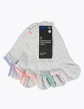 5 Pair Pack Trainer Liner Socks