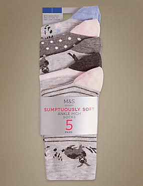 5 Pair Pack Sumptuously Soft Ankle High Socks , GREY MIX, catlanding