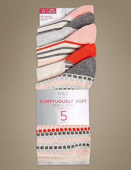 5 Pair Pack Textured Ankle High Socks