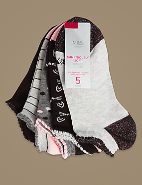 5 Pair Pack Sumptously Soft Trainer Liner Socks
