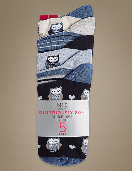 5 Pair Pack Owl Ankle High Socks