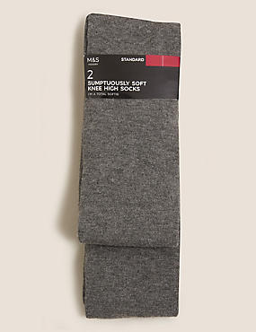 2 Pair Pack Soft Knee High Socks