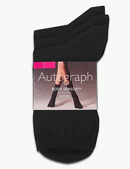 3 Pair Pack Body Sensor™ Ankle High Socks