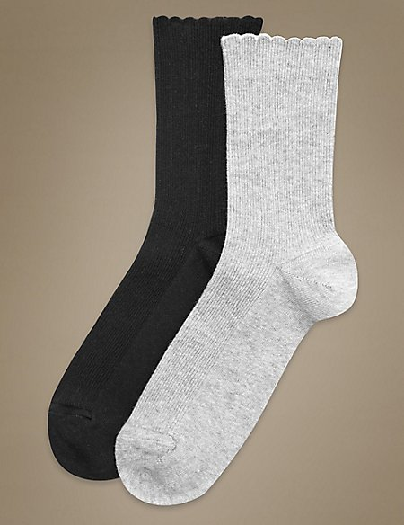 2 Pair Pack Soft Grip Assorted Ankle High Socks