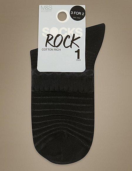 Variegated Striped Ankle Socks