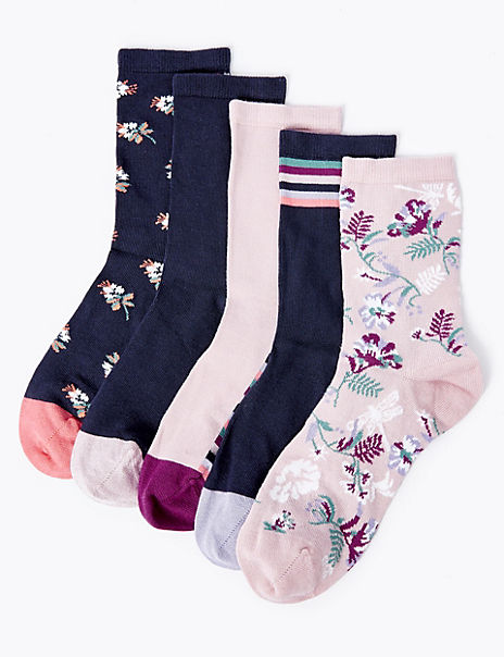 5 Pack Sumptuously Soft Floral Socks
