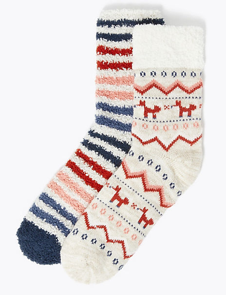 2 Pair Pack Fair Isle Supersoft Ankle High Socks