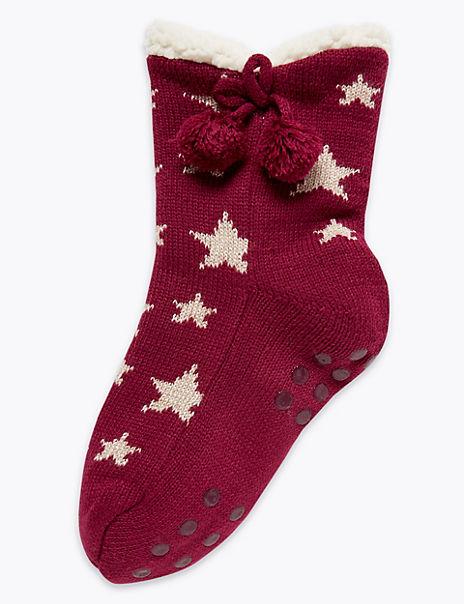 Star Print Bootie Slipper Socks
