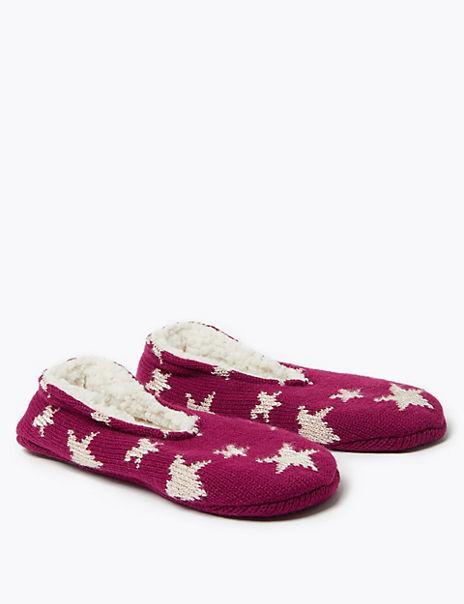 Fleece Lined Star Print Slipper Socks