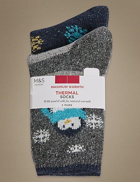 2 Pair Pack Thermal Socks