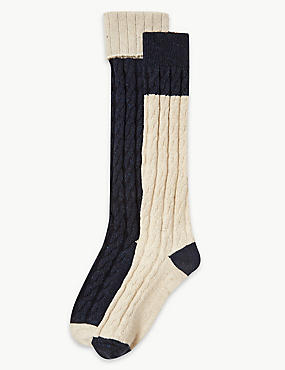 2 Pair Pack Thermal Cable Knee Highs, OATMEAL MIX, catlanding