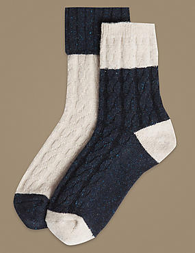 2 Pair PackThermal Ankle High Socks, OATMEAL MIX, catlanding