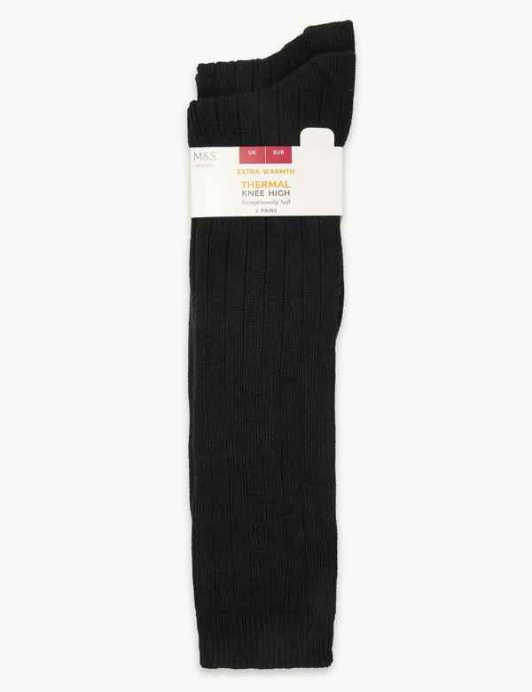 fd90a0d88 2 Pair Pack Thermal Knee High Socks