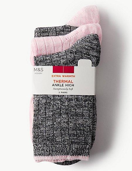 3 Pair Pack Thermal Ankle High Socks