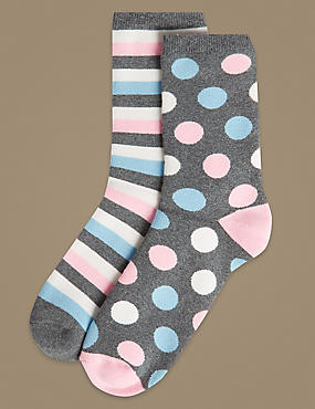 2 Pair Pack Cotton Rich Ankle High Socks, GREY MIX, catlanding