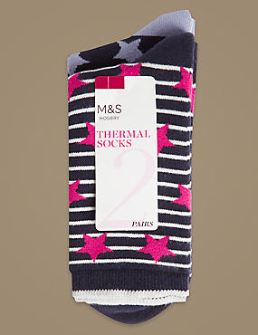 2 Pack Cotton Rich Ankle High Socks