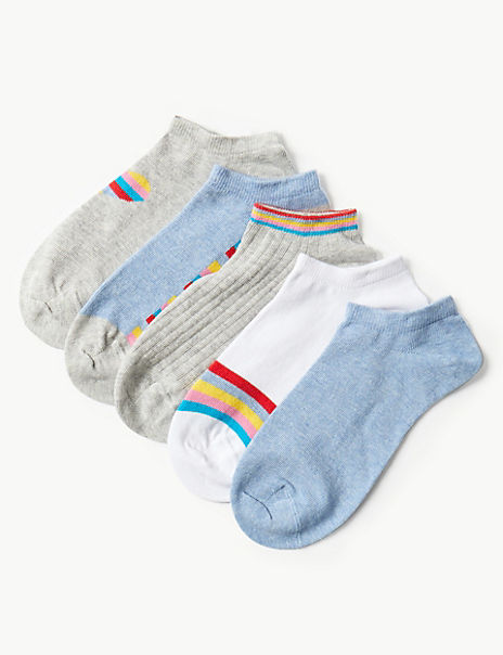 5 Pair Pack Cotton Rich Trainer Liner Socks