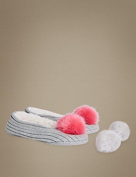 Pom Pom Ballet Slipper Socks
