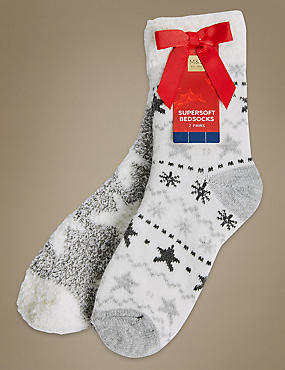 2 Pair Pack Supersoft Bedsocks