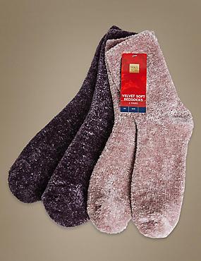 2 Pair Pack Velvet Soft Bedsocks