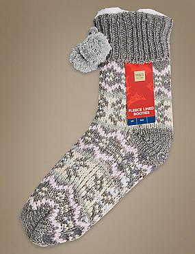 Fleece Fairisle Lined Booties