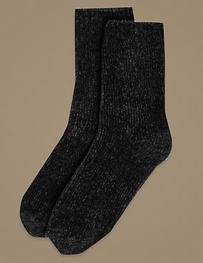 2 Pair Pack Chenille Ankle High Socks