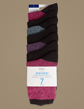 7 Pair Pack Cotton Rich Ankle High Socks