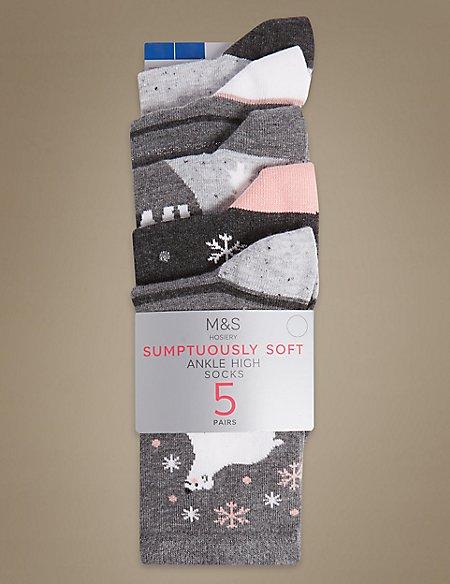 5 Pair Pack Ankle High Socks