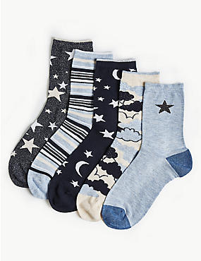 5 Pair Pack Cloud Ankle High Socks
