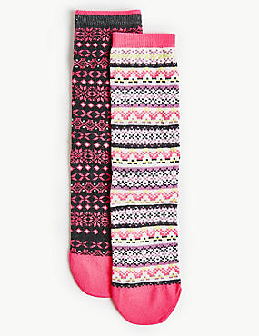 2 Pair Pack Fairisle Ankle High Socks