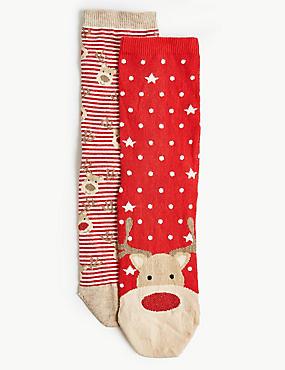 2 Pair Pack Reindeer Ankle High Socks